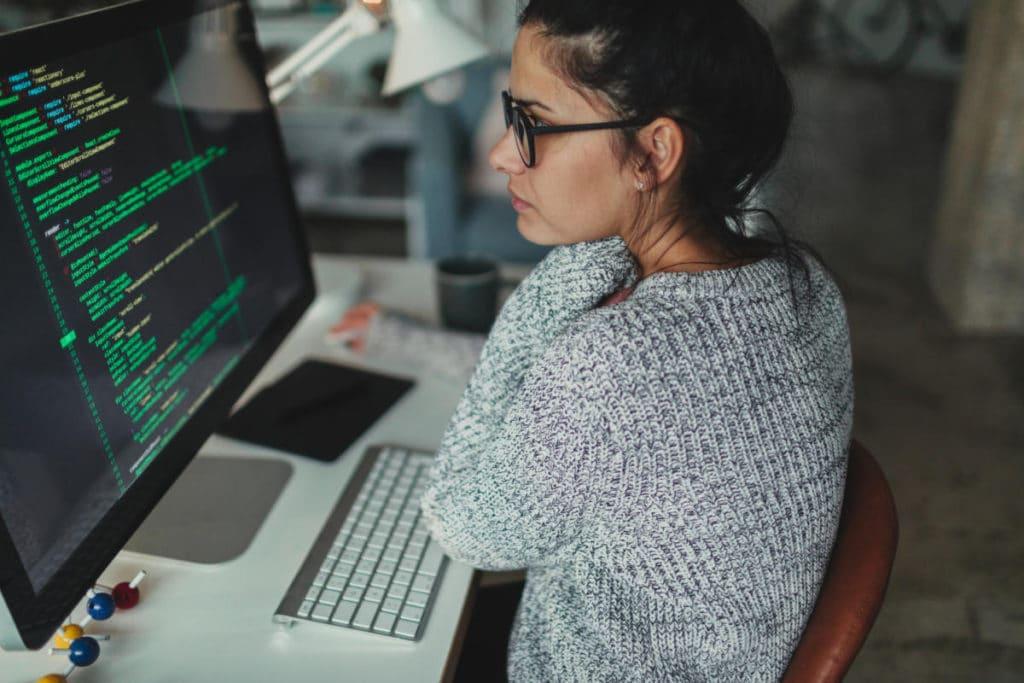 a woman programming